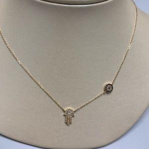 Jewelry - Ladies 14K YG Diamond and Sapphire Necklace